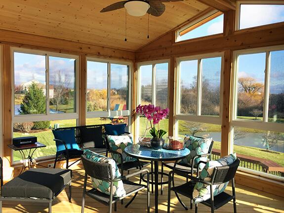 Custom sunroom with gorgeous ceiliing