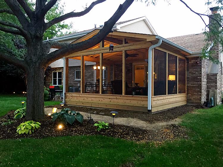 Custom screened porch in Downers grove