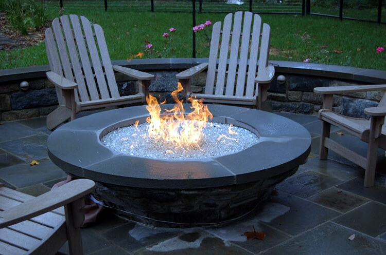 Custom fire pit with glass