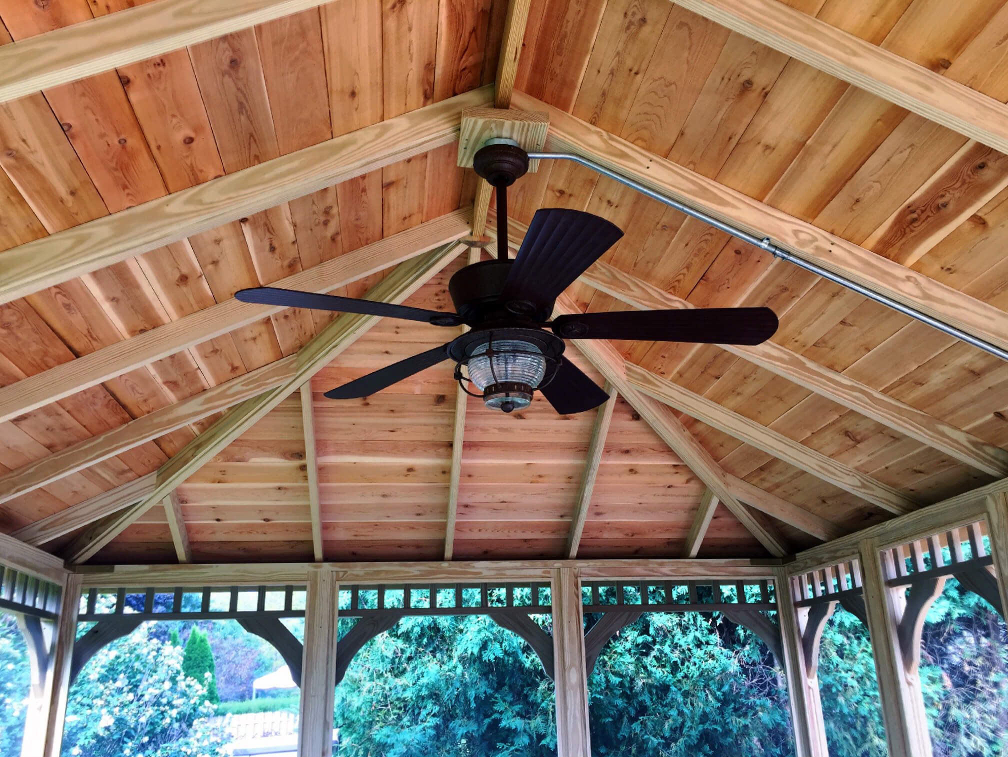 Custom gazebo with exposed rafters