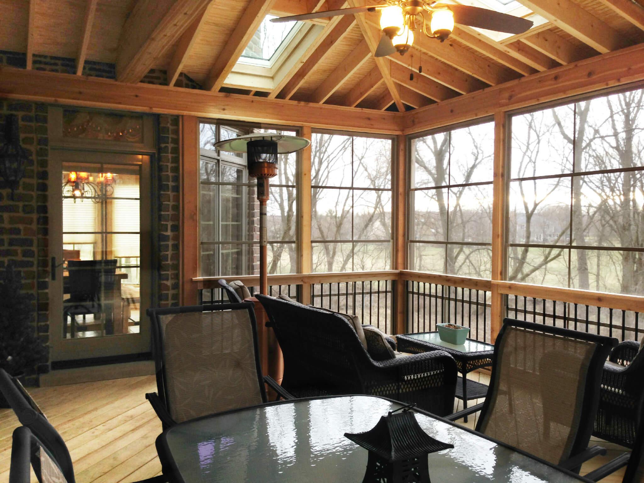 Custom screen porch with skylights