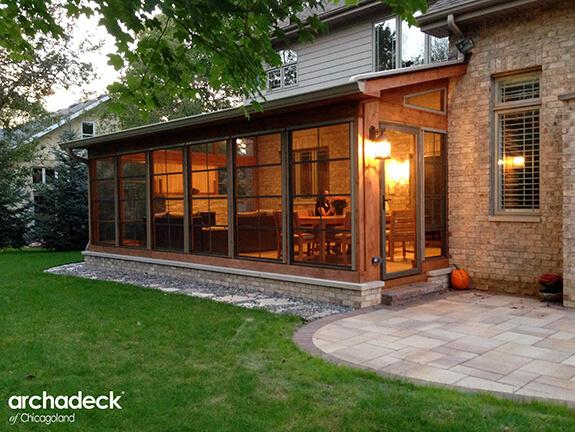 Custom sunroom with patio
