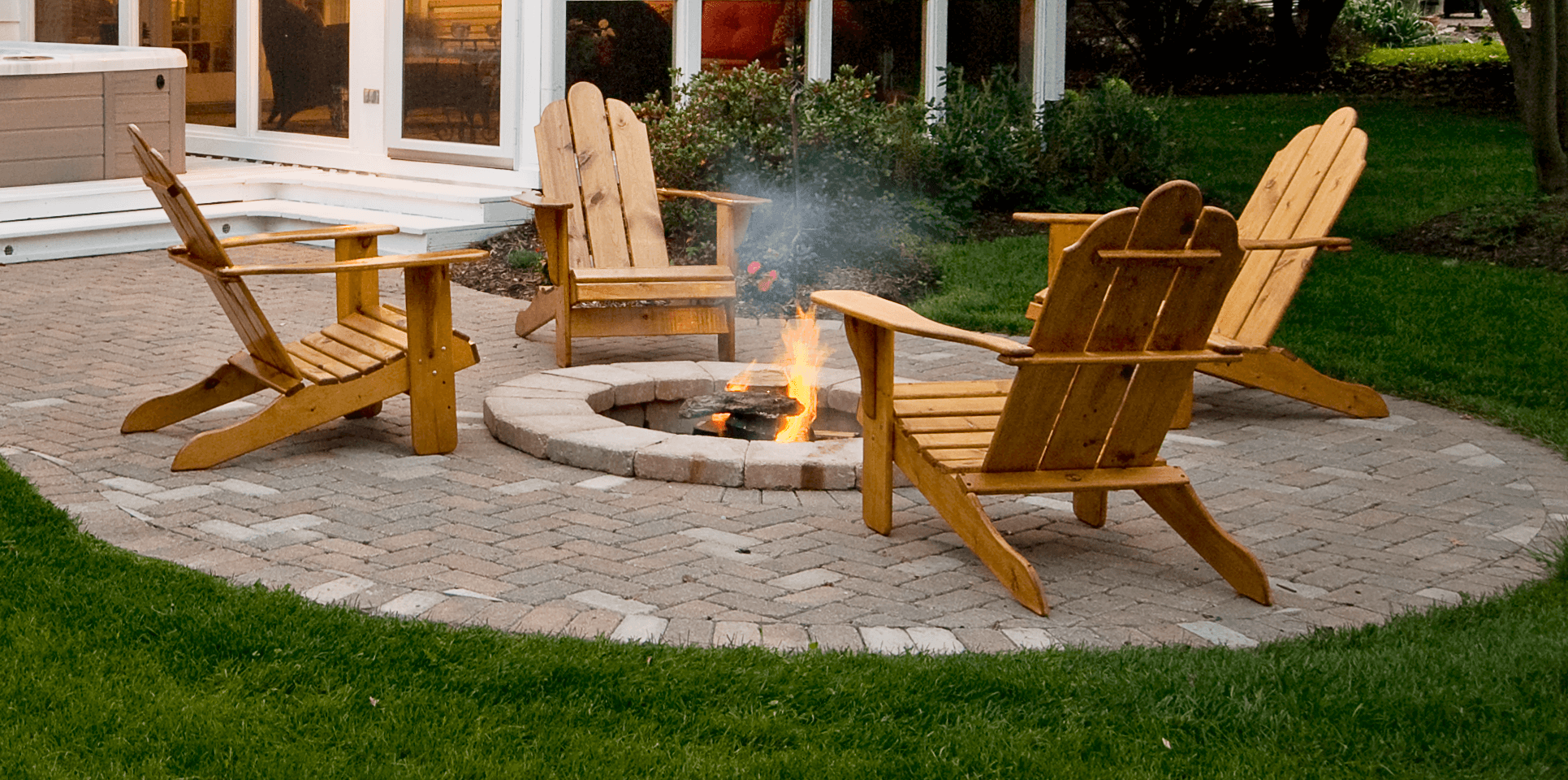 custom wooden chair in fire pit