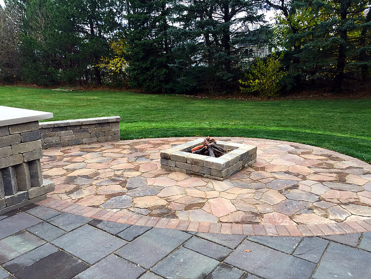 Custom patio design with fire pit