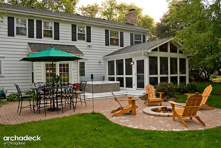 screened porch, spa deck, and patio design