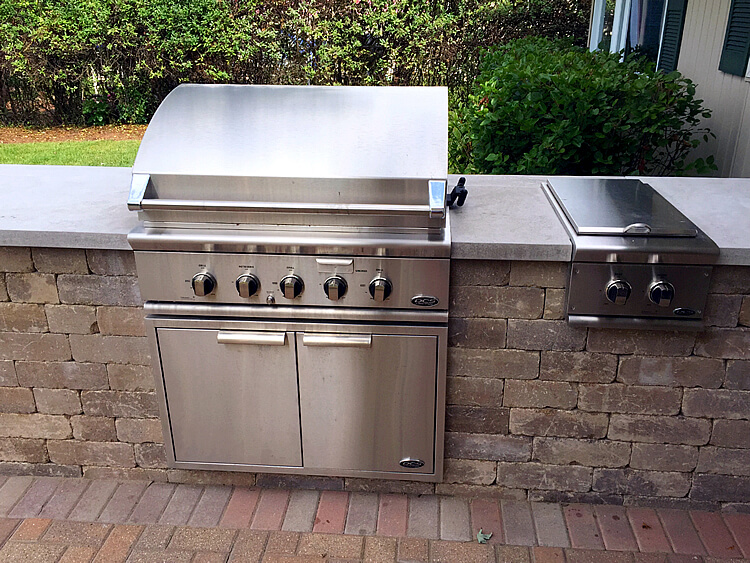 Custom patio with outdoor kitchen