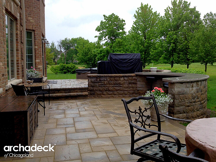 Custom paver patio with bar