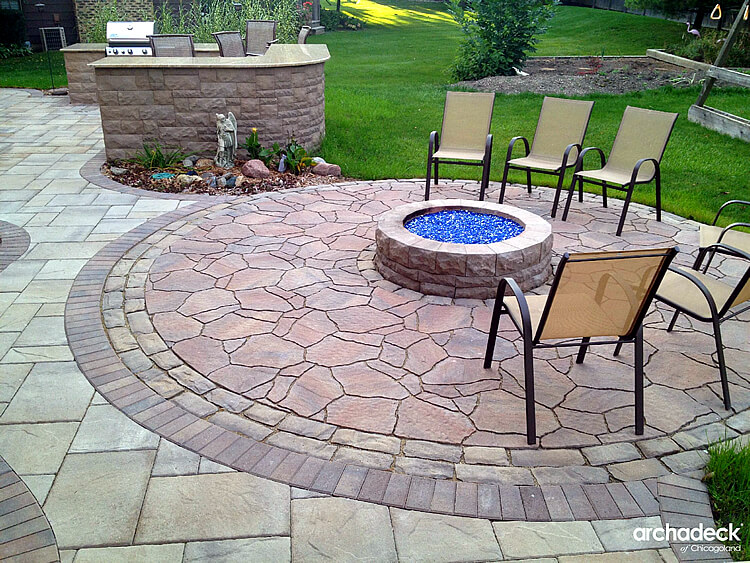 Custom paver patio with built in fire pit