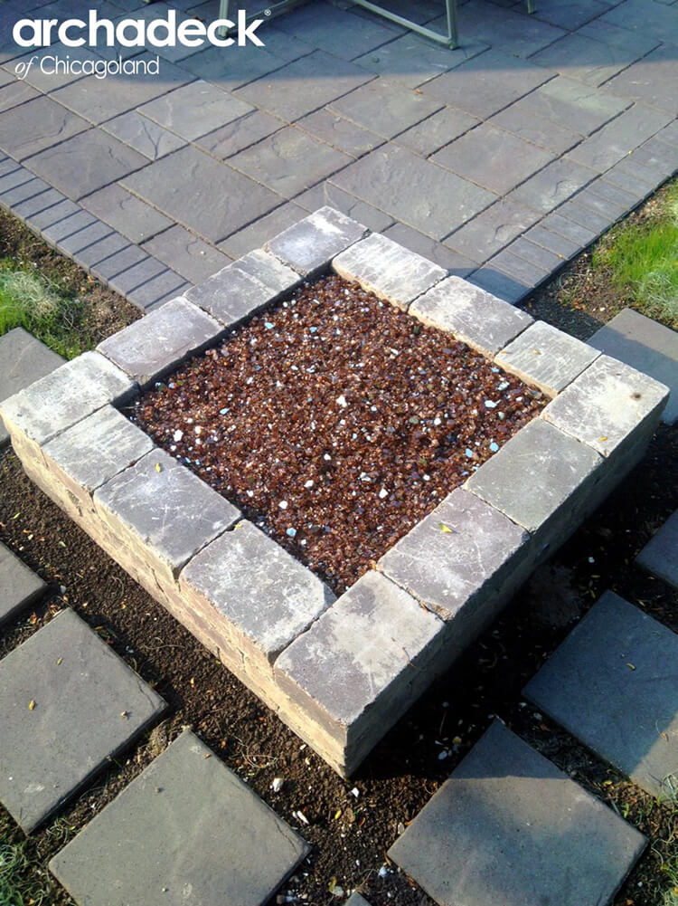Custom fire pit with fire glass beads