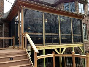 Custom vertical 4 track windows on custom screen porch