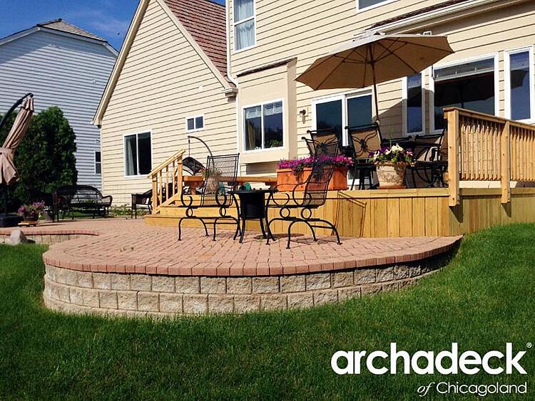 Custom wood deck and brick patio