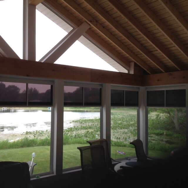 Lake view from inside of three season room