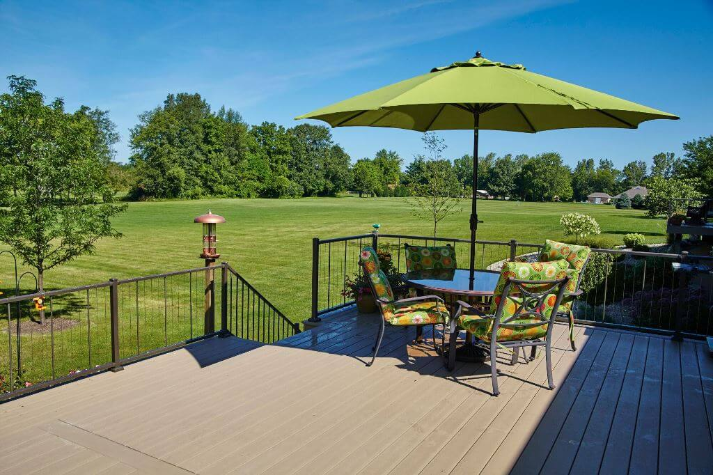 Custom backyard deck with lounge area