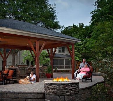 Family enjoying time on patio