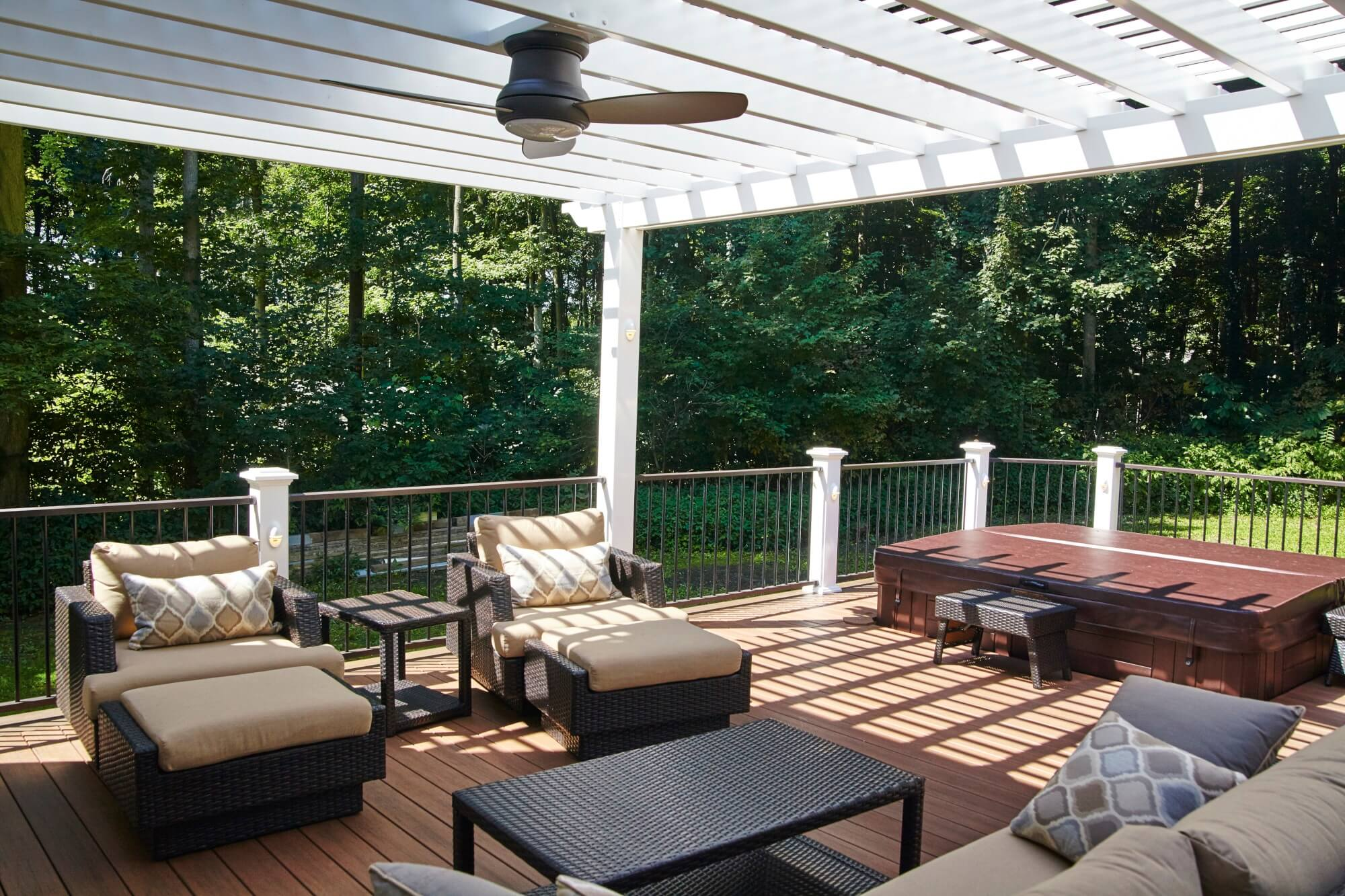 Cozy custom deck with pergola