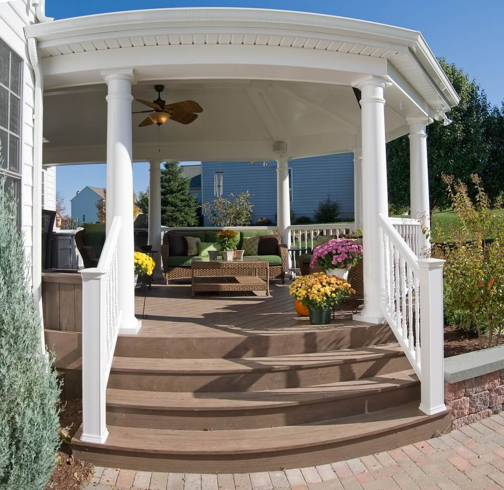 Custom covered porch with staircase