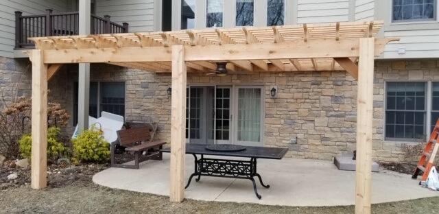 Custom wood pergola over patio