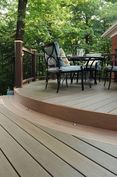 Dining area on multi-level deck