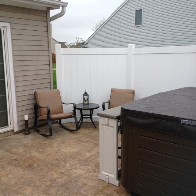 Custom private patio with hot tub