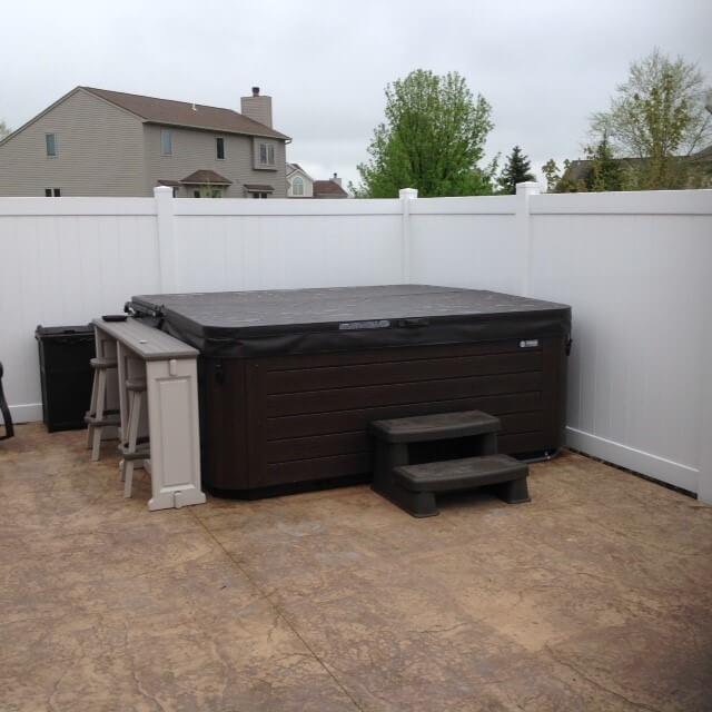 Custom hot tub on patio