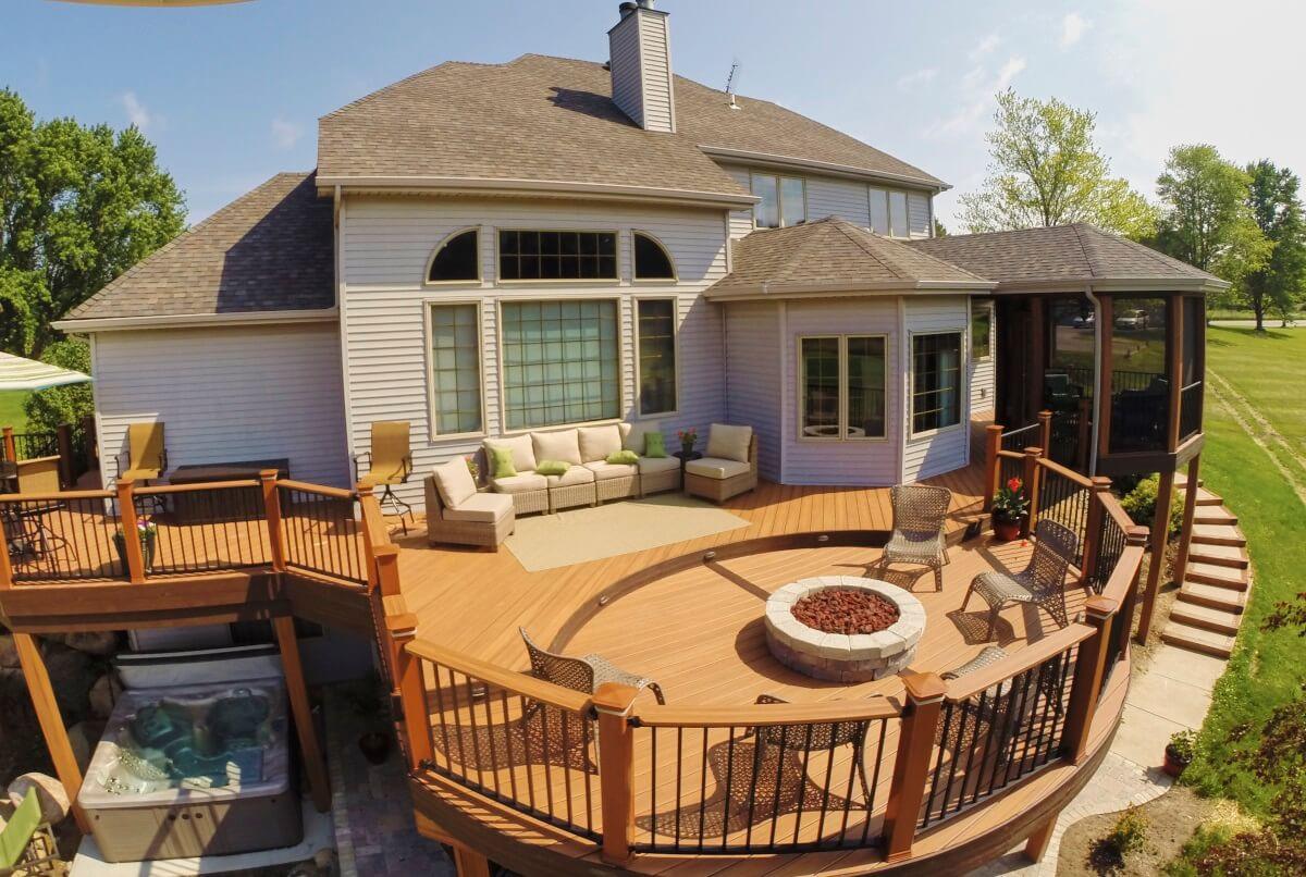 Custom backyard outdoor living space