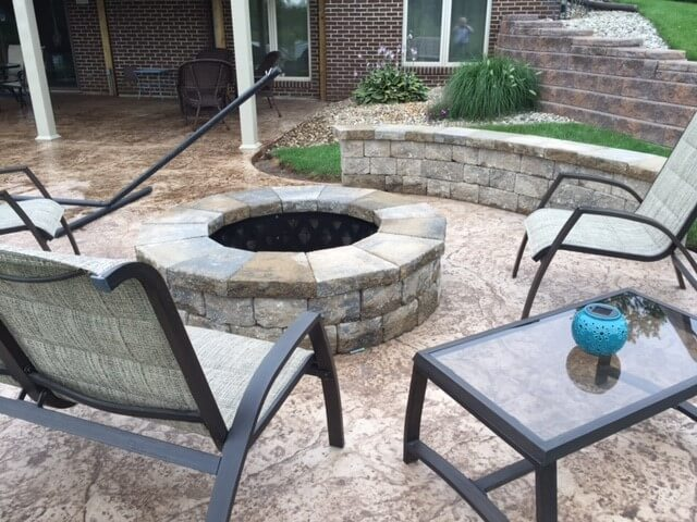 Custom fire pit on patio