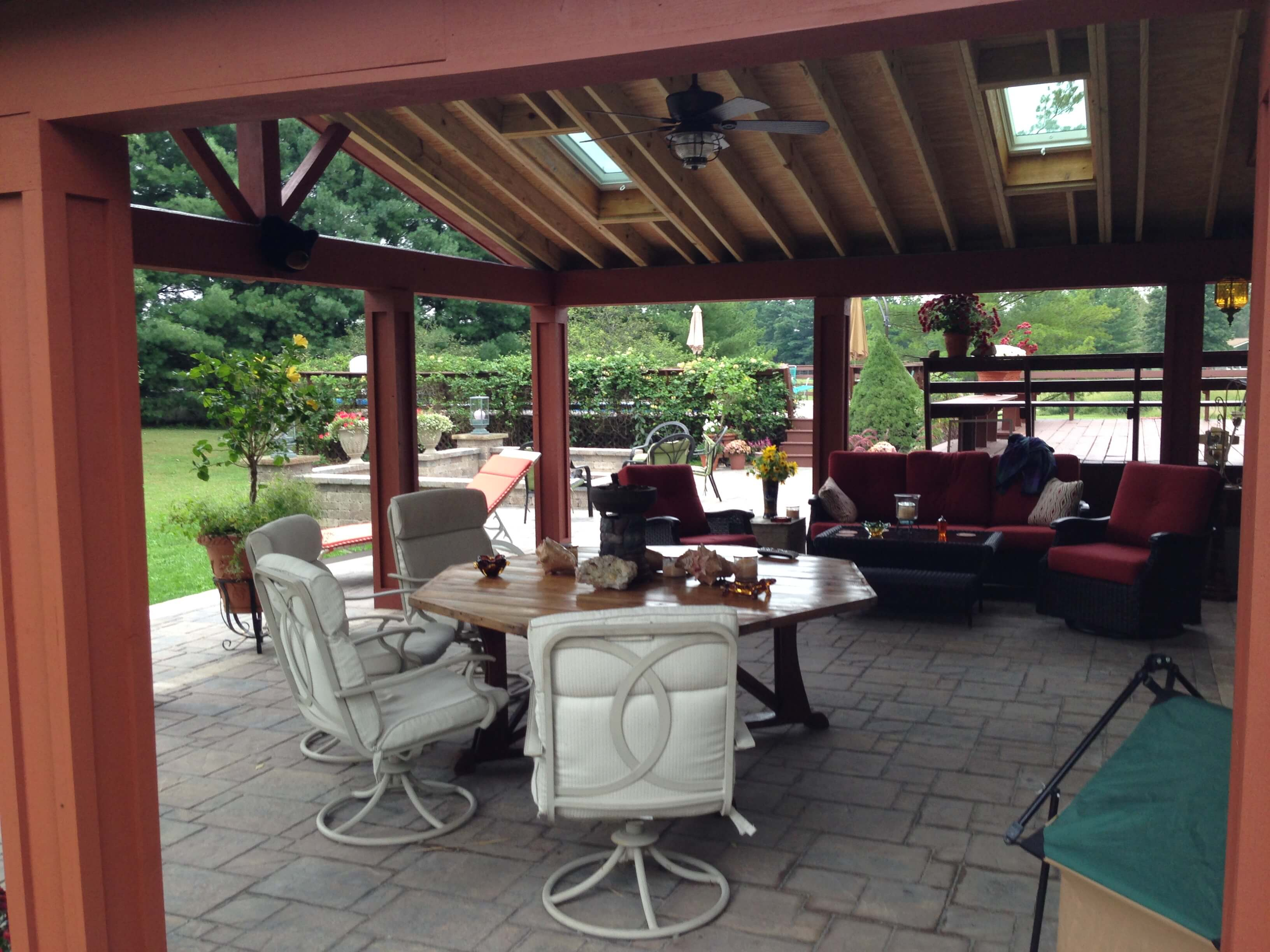 Custom open porch with dining area