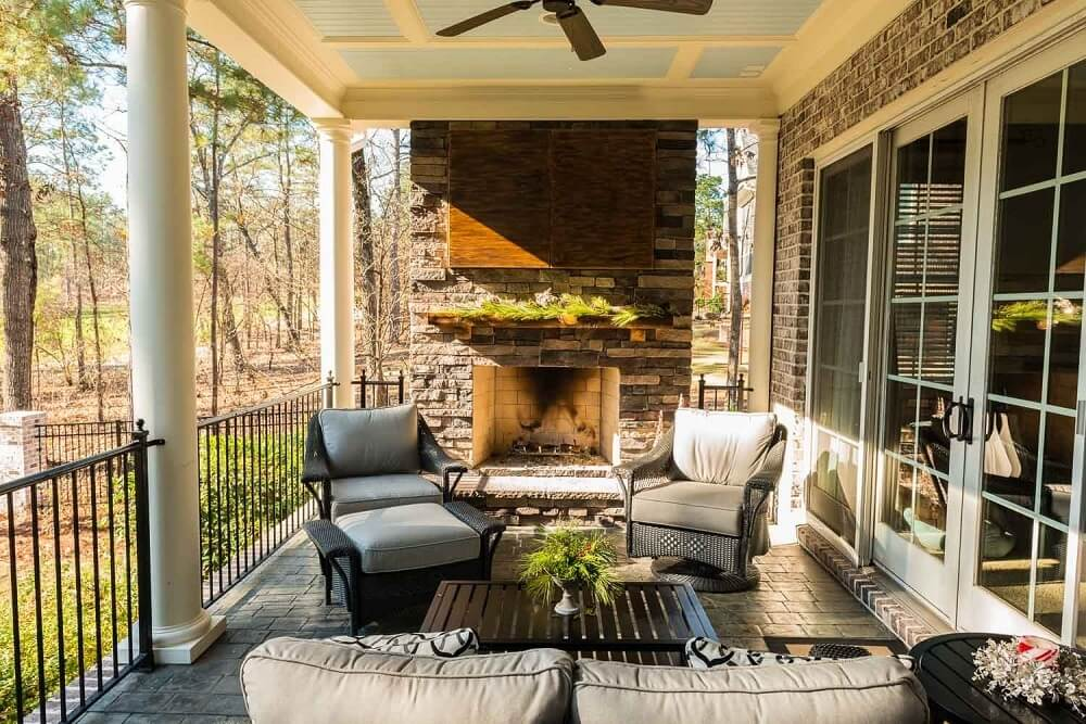 Custom porch with outdoor fireplace