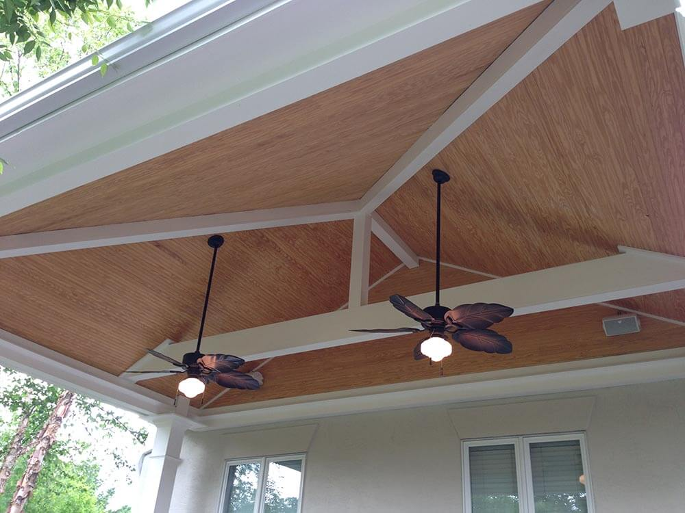 Porch ceiling with fans and lighting