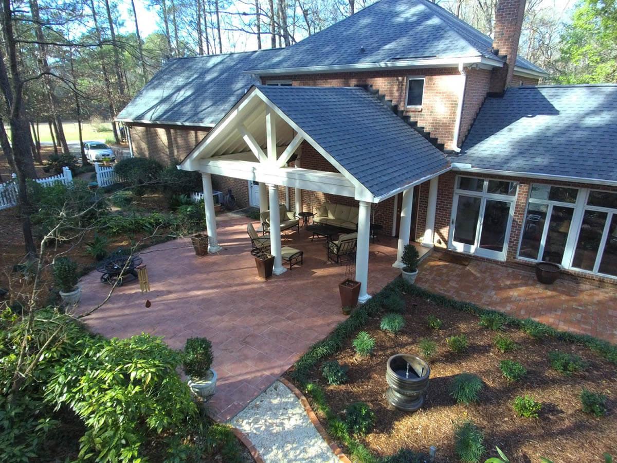 Custom backyard covered porch