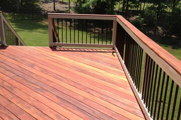 wood deck with privacy railing