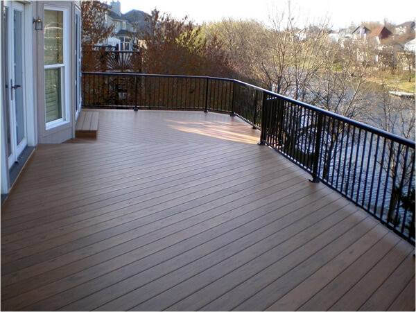 wood deck with railings