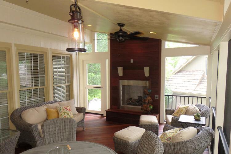 Cozy custom screened porch.