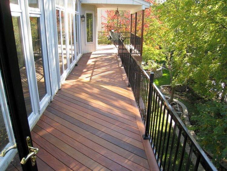 Custom deck with black railing