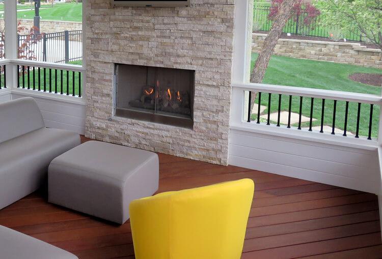 Modern outdoor fireplace.
