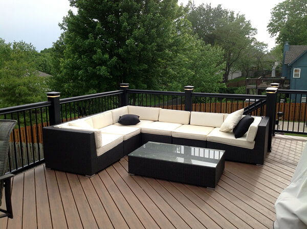wood deck with couch
