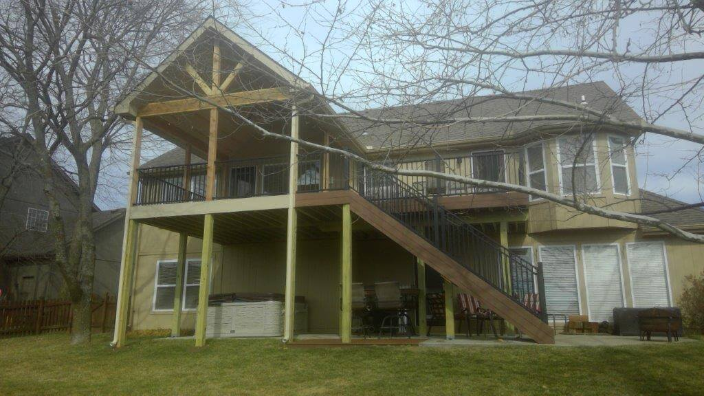 Custom backyard elevated porch and deck