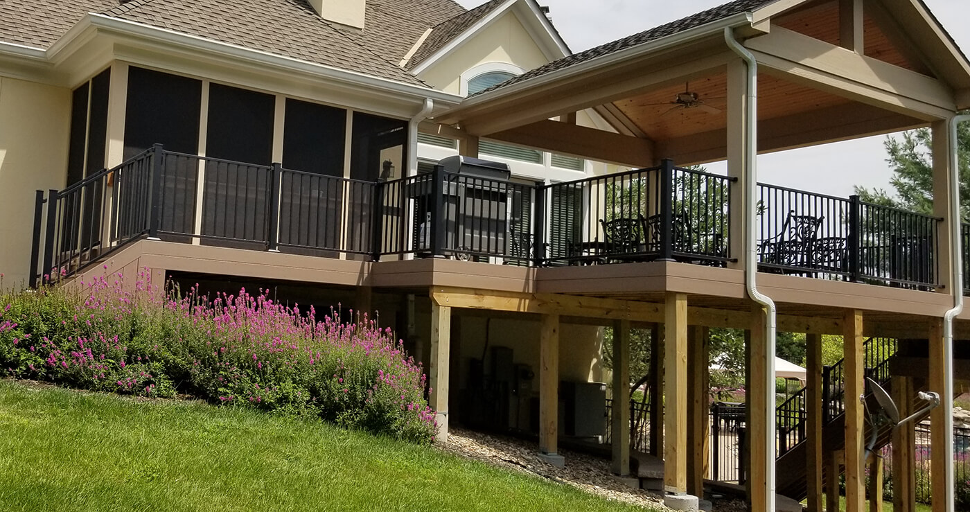 Custom elevated backyard deck