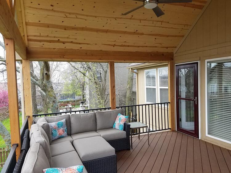 Cozy custom covered porch