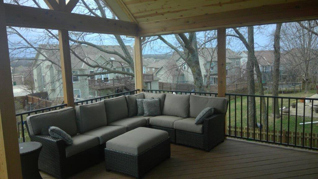 Couch area on screened porch
