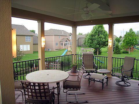 Custom porch with column lights