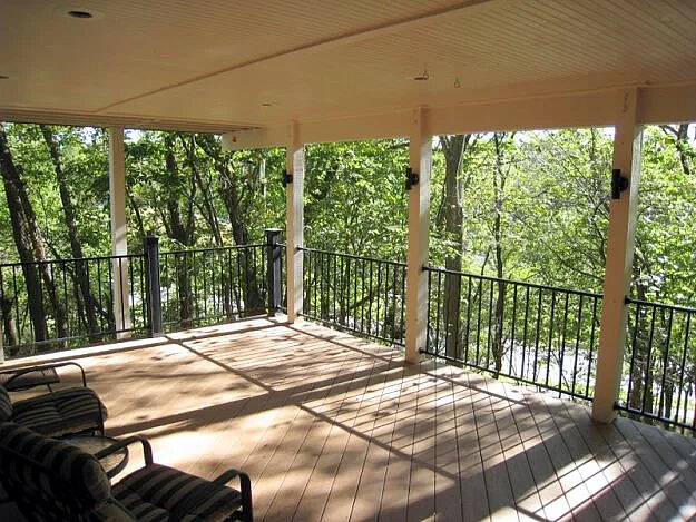Custom open porch with railing