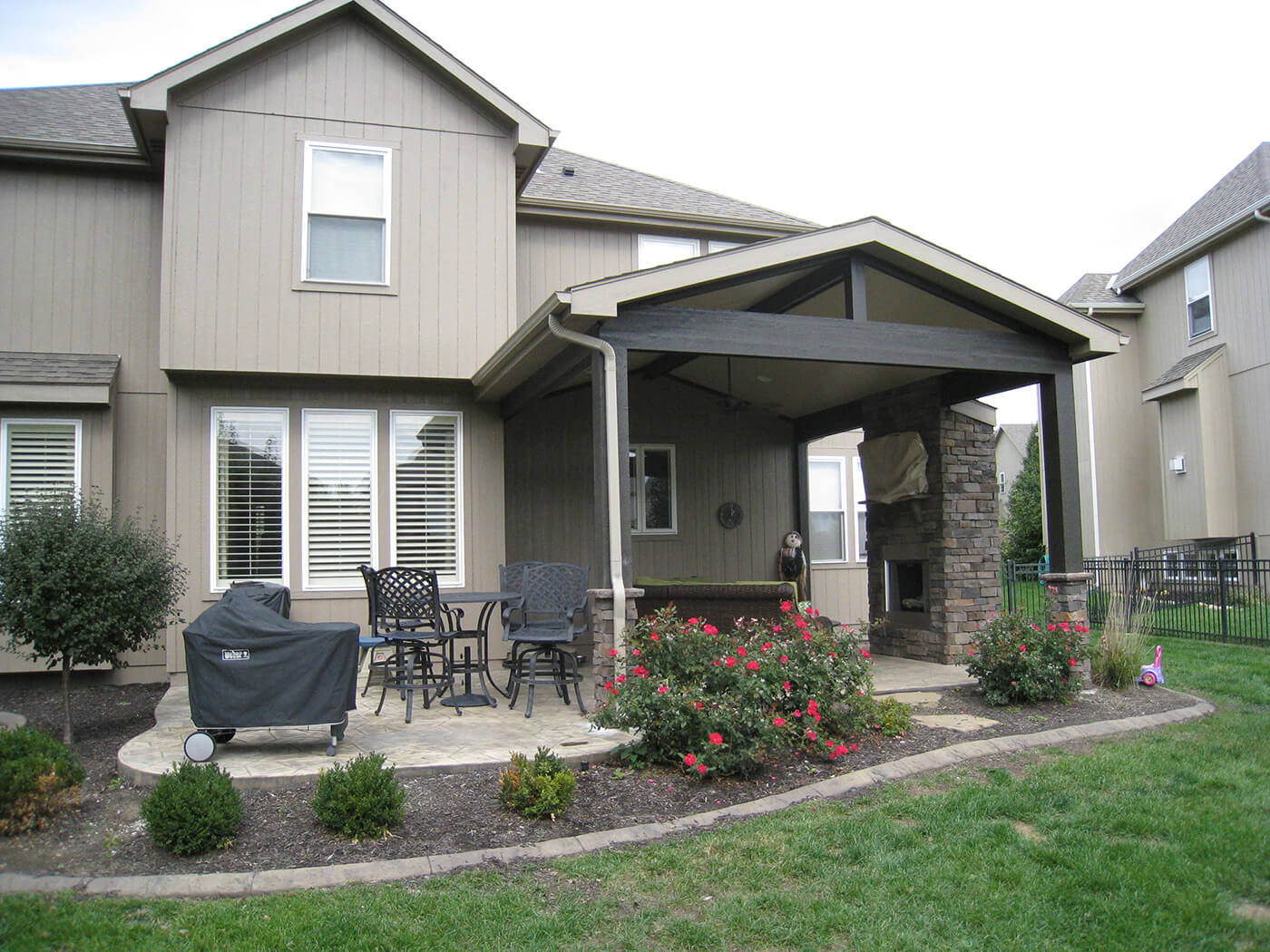 Custom covered porch and patio with seating area