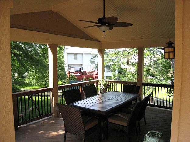 Dining area on covered porch