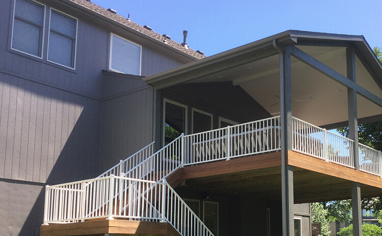 Custom elevated covered porch