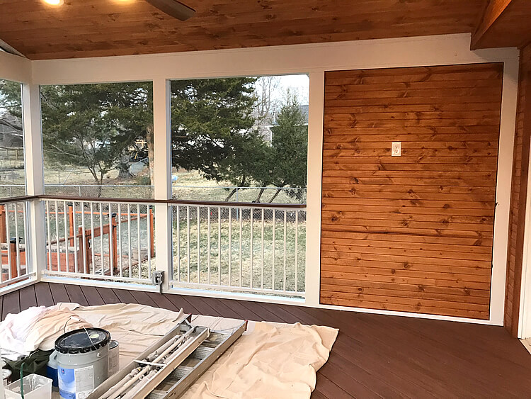 TV wall on screened porch
