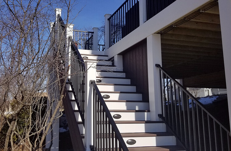 Custom deck staircase with lighting
