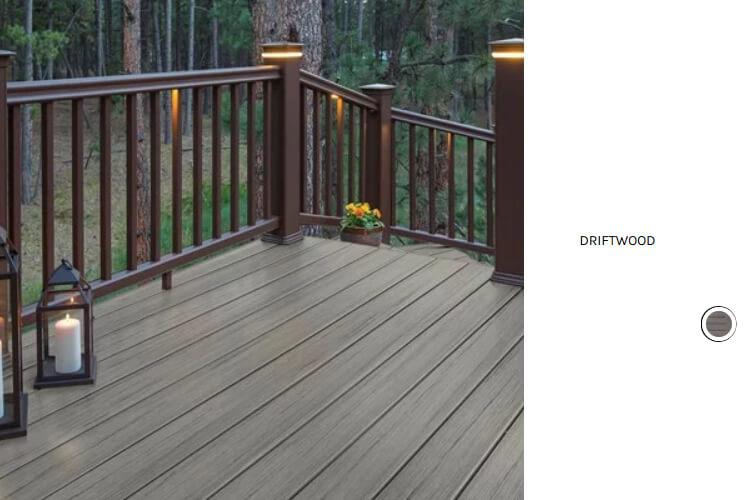 Driftwood deck and custom railing lighting