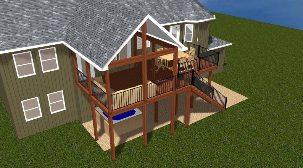 Deck and porch 3D design