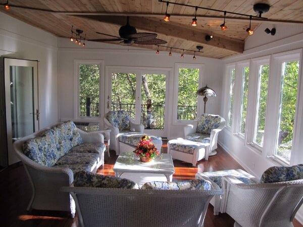 Cozy interior of custom sunroom